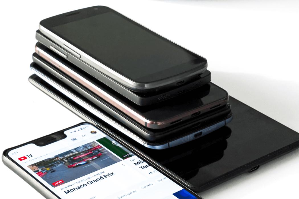 Stack of old smart phones