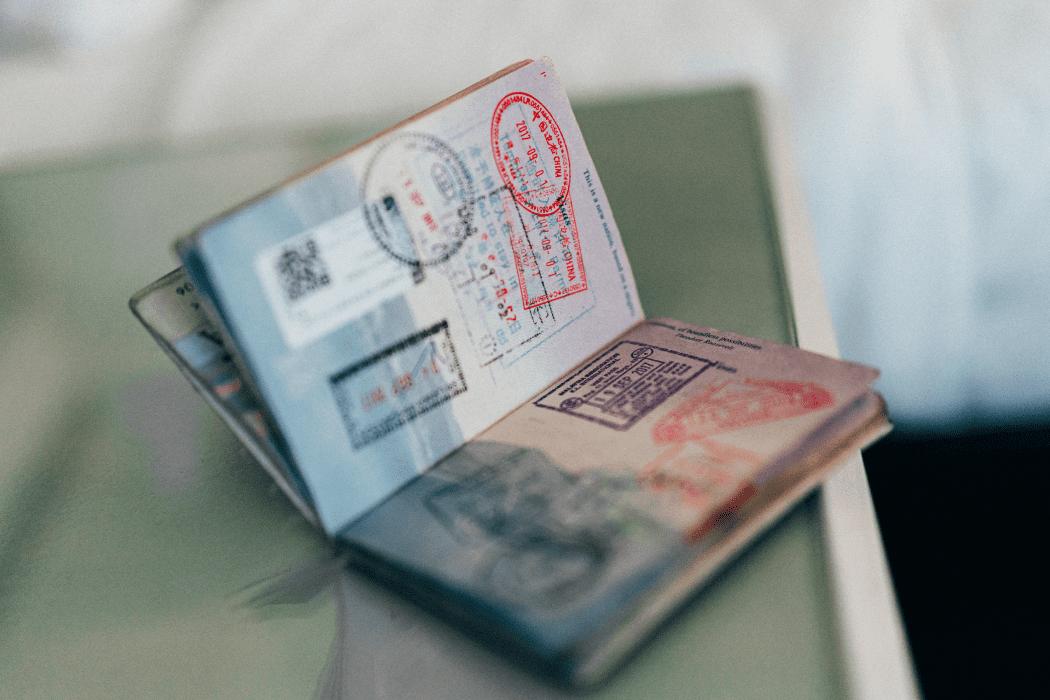 Passport on a desk