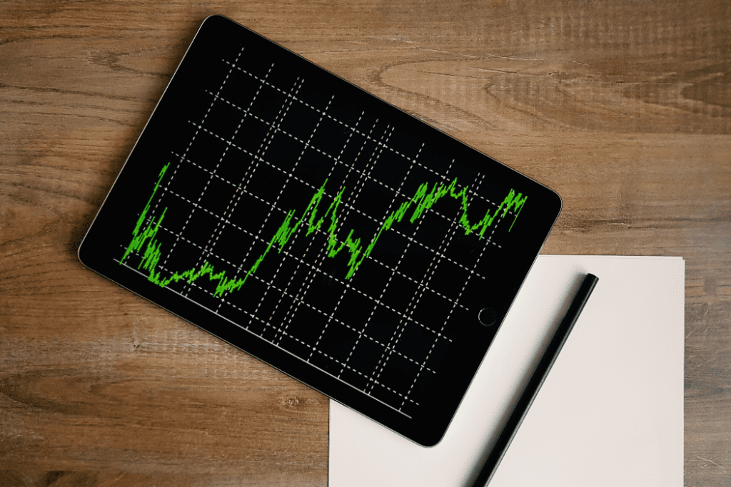 Tablet showing a stock market graph