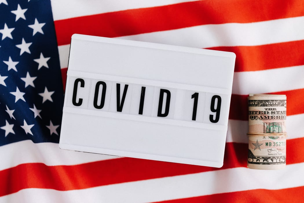 COVID19 sign and American Flag