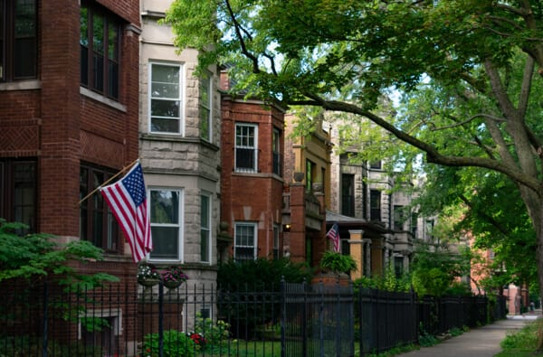 a row of beautiful brick homes in Chicago