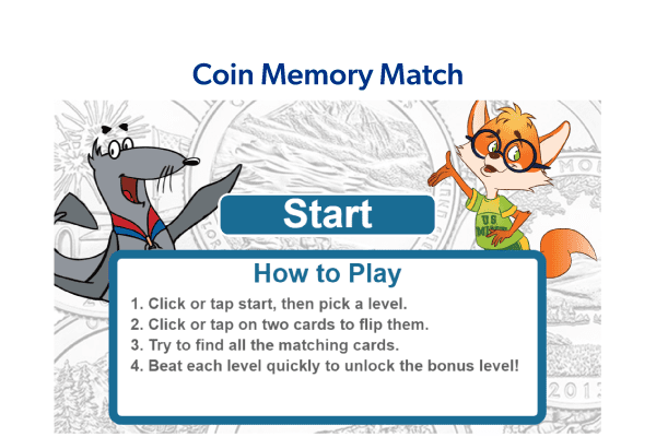Coin Memory Match Game Graphic