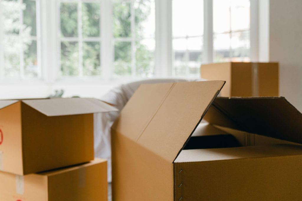 packing boxes in new home